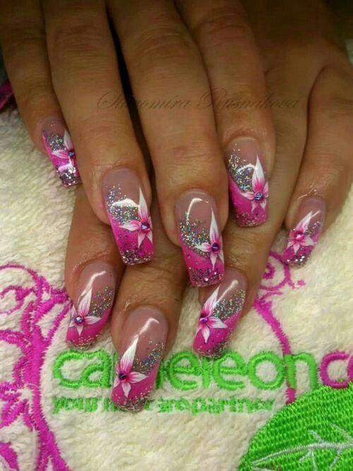 Elaborate pink flower glitter nail art | Nail Art Gallery | Pinterest