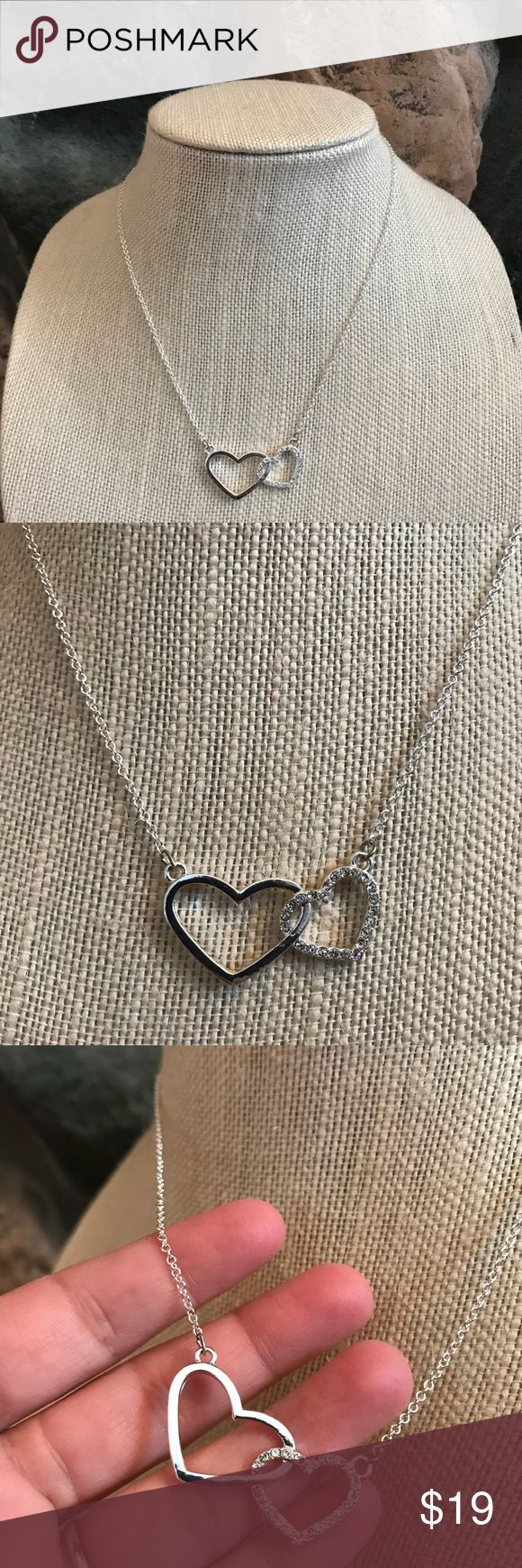 """Double Heart Necklace NWOT Silver metal tone. Fashion jewelry. Two hearts entwined. 18"""" Necklace. Great Valentines Day gift! Jewelry Necklaces"""
