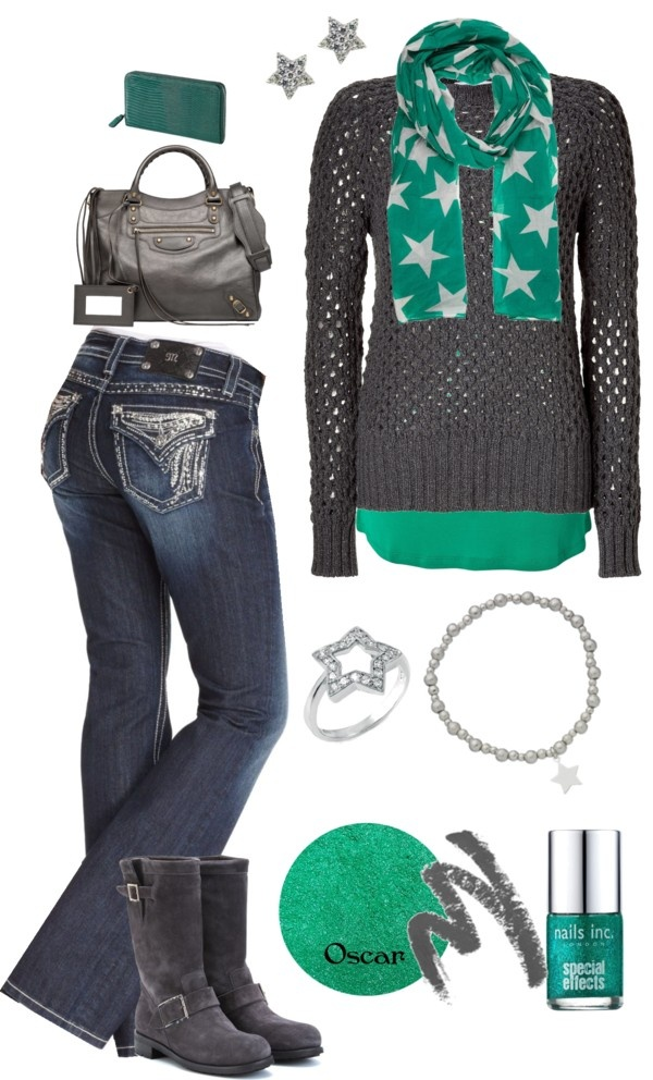U0026quot;Teal and Smokeu0026quot; by crzrdnk77 on Polyvore | Outfits | Pinterest | Grey sweater Boots and Changu0026#39;e 3