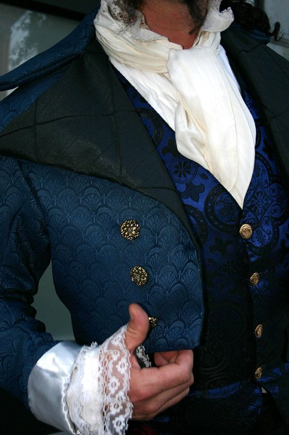 Royal Blue and Black Filigree Tapestry French Steampunk Frock Cutaway Coat
