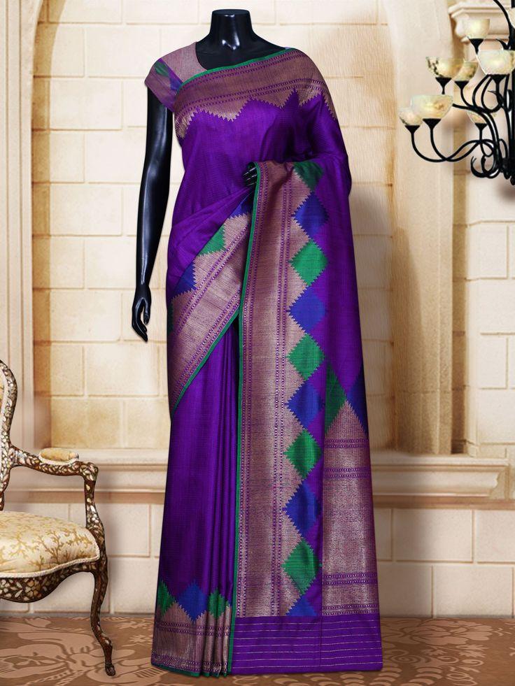Purple Dupion Plain Contrast Border & Pallu Banarasi Handloom Saree