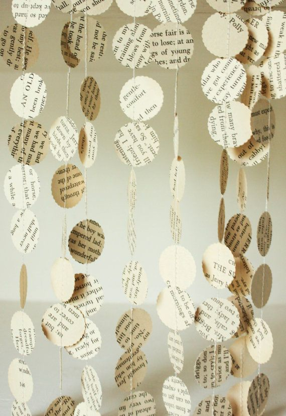 Book Page Garland, Paper Garland, Small Dot Garland, Wedding Decoration, Confetti Garland, Book Theme Wedding, 10 feet long, Made to Order
