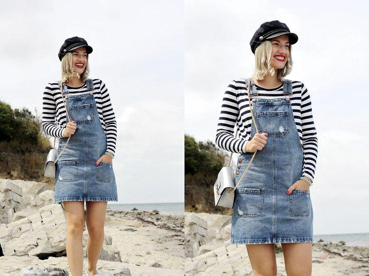 Jessicar Wunderbar // modeblogger fashion blogger outfit matrosen look marinelook streifen latzkleid matrosenmütze