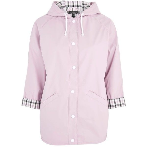 Topshop Hooded Raincoat Mac (3.775 RUB) ❤ liked on Polyvore featuring outerwear, coats, pink, mac coat, topshop raincoat, pink raincoat, rain coat and pu coat