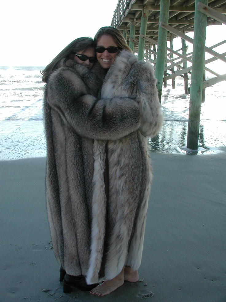 Full Length Fox &amp Lynx Fur Coats on the beach can i squeeze in
