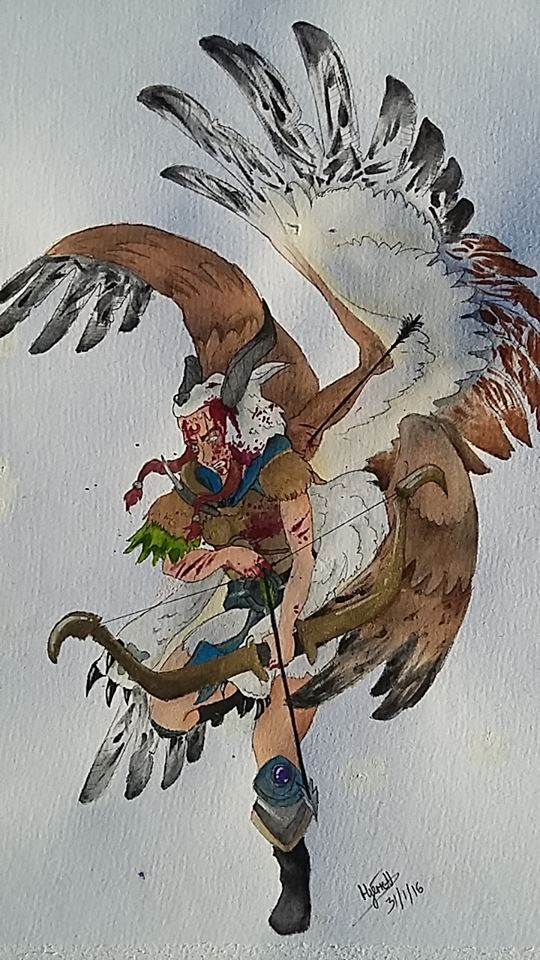 My watercolour piece, The Seraphim of El.