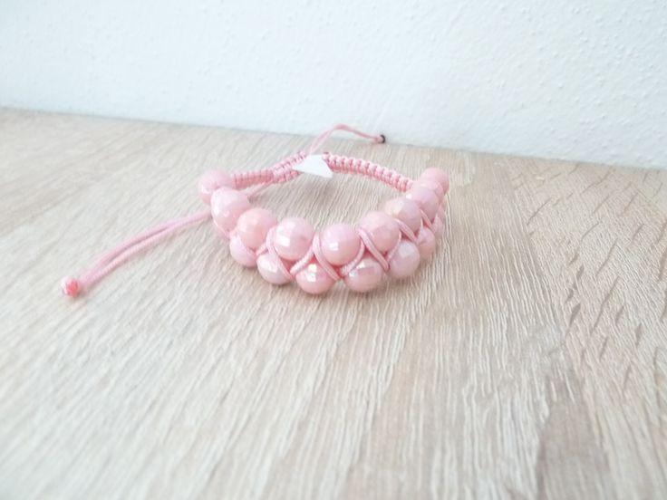 dvojitý shamballa náramek -růžový