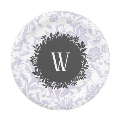 Light Gray Floral Wallpaper Pattern with Monogram Paper Plate - decor gifts diy home & living cyo giftidea