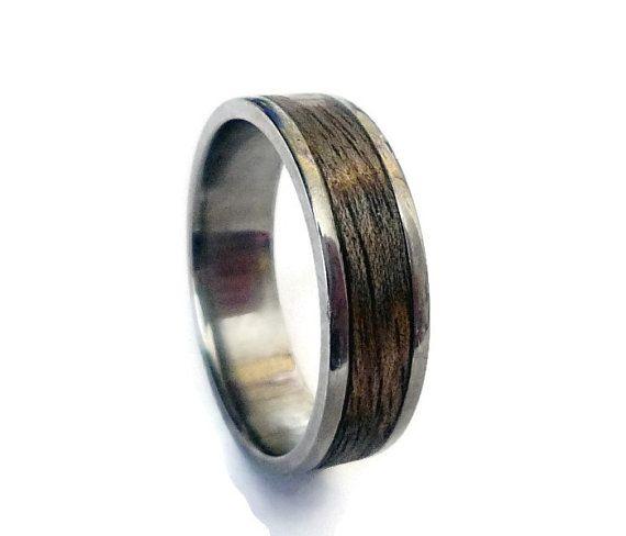 Titanium Ring Mens Titanium Wedding Band Wooden by ringordering