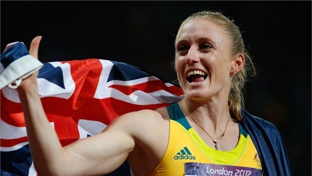Sally Pearson of Australia celebrates after winning the gold medal