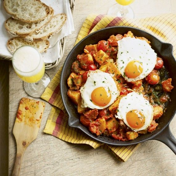 Chorizo and Patatas Bravas with Eggs