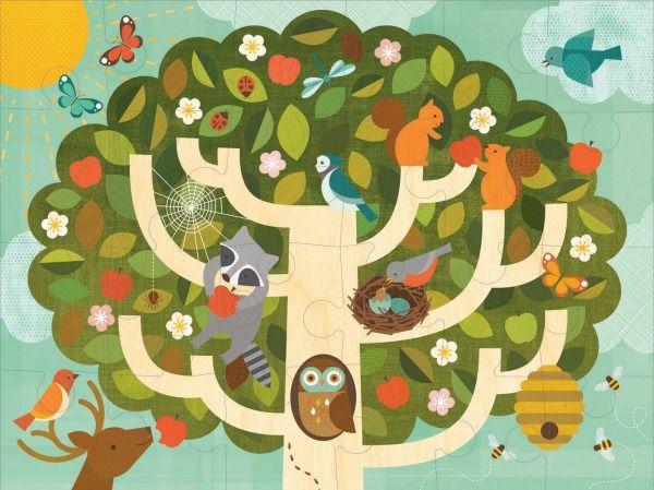 Petit Collage - Floor Puzzle - Treetop Friends #limetreekids