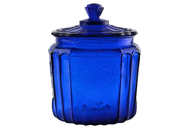 Cobalt glass canister on for the home pinterest cobalt glass products - Blue glass kitchen canisters ...