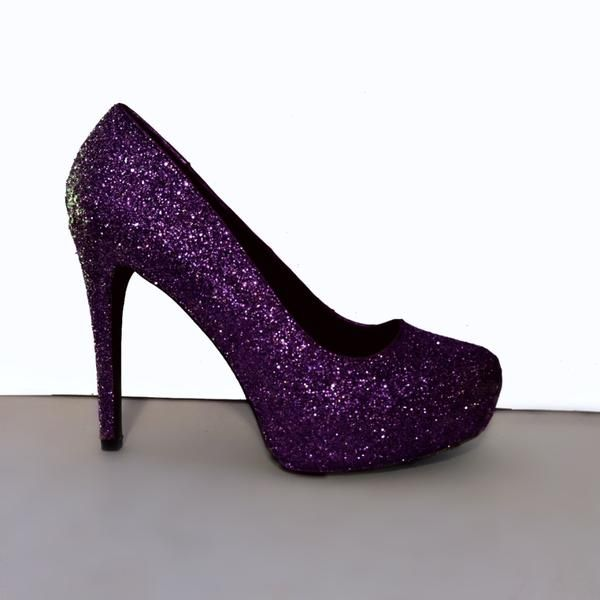 Women's Sparkly Plum Dark Purple Glitter Heels Pumps wedding bride shoes -GLITTER SHOE CO