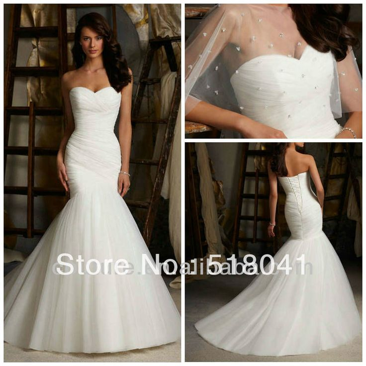 New arrival strapless sweetheart neck ruffle white organza for White fishtail wedding dress