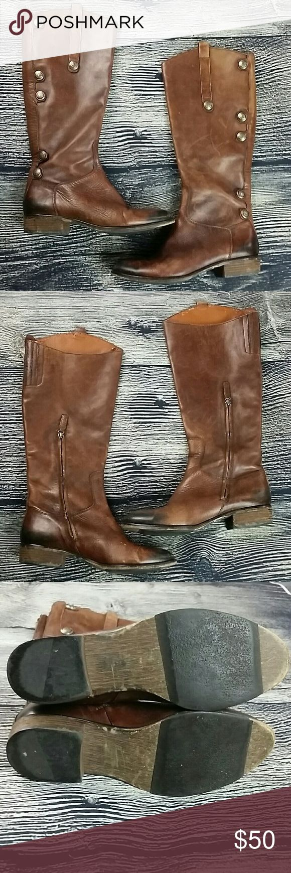 """Arturo Chiang size 8M brown Enchant tall round toe Arturo Chiang size 8M brown Enchant tall round toe boots Leather knee high heeled boots Whiskey brown  Heel height 1"""" 16.5"""" tall from bottom of heel to top    C350 Arturo Chiang Shoes Heeled Boots"""