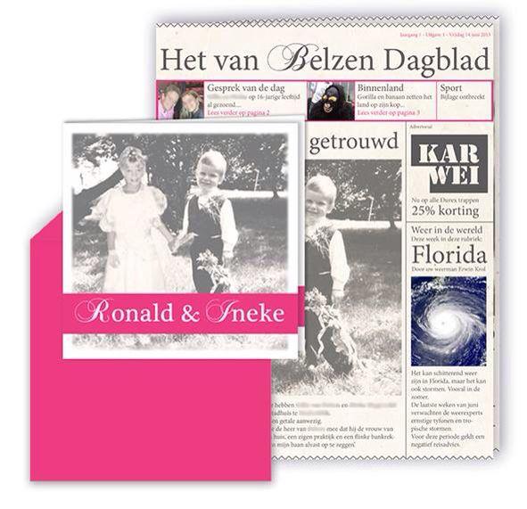 Studio Deksels - KAARTopMAAT - trouwkaart - trouwkrantje - roze - foto