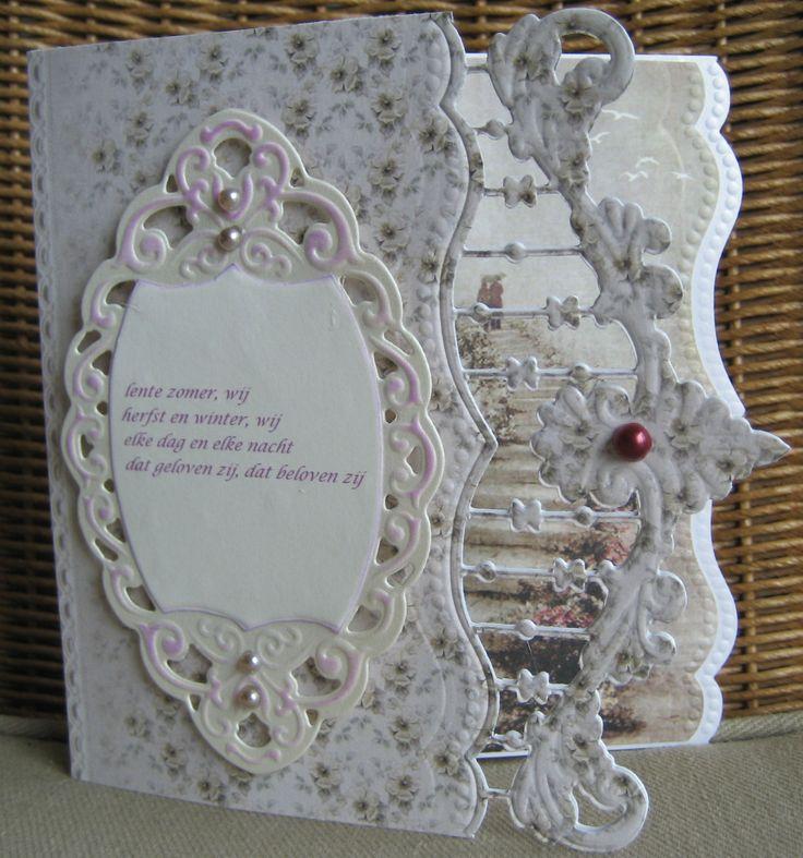 M.K huwelijksverjaardag, mal Anja van Laar- en MD- Pionpapier- achtergrond Romantic Journey van MD-
