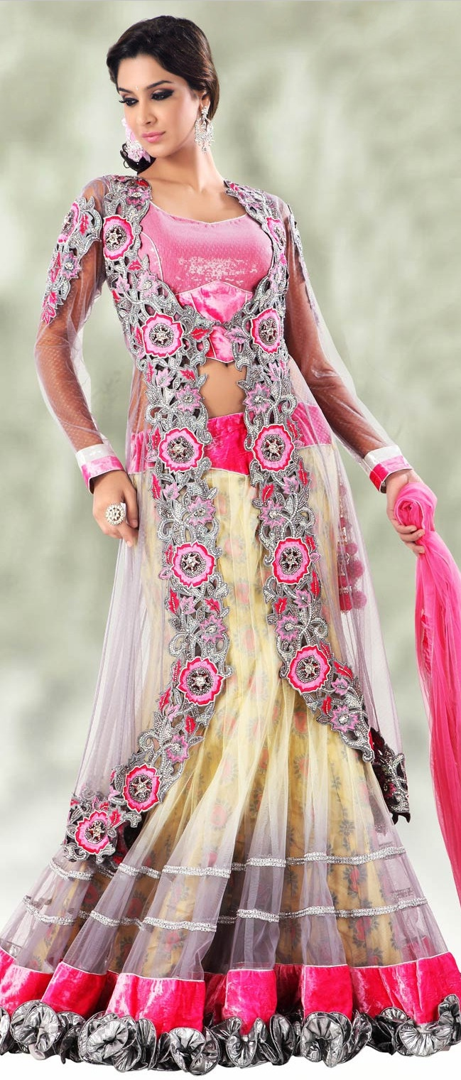 Light Yellow and Dark Pink Flare and Jacket Style Net Lehenga Choli With Dupatta