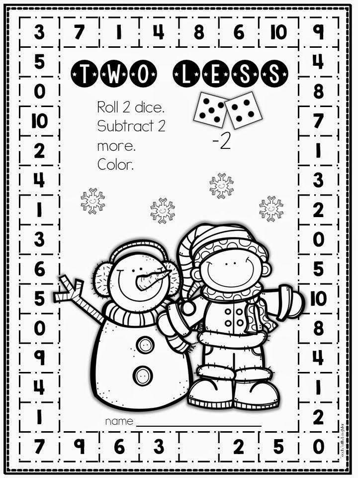 FREE no-prep winter math subtraction activity, blog hop