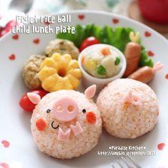 子ブタちゃんおにぎりのお子様ランチプレート  #rice