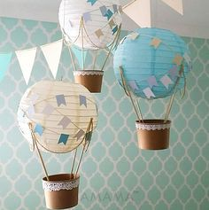 Decorate your party, baby shower or child's nursery with the Whimsical Hot Air Balloon DIY kit. The kit contains all the materials needed for 3