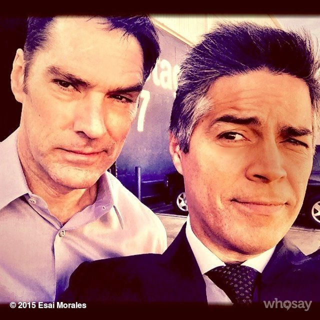 criminalmindsfeed:@Esai_Morales:#OnSet givin' #TheLook with the master #ThomasGibson ;) @CrimMinds_CBS #CriminalMinds