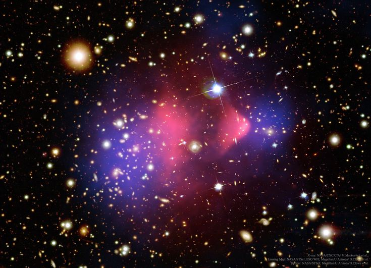2017 January 15 Nasa Astronomy Picture of the Day See Explanation. Clicking on the picture will download the highest resolution version available. The Matter of the Bullet Cluster Image Credit: X-ray: NASA/CXC/CfA/ M. Markevitch et al.; Lensing Map: NASA/STScI; ESO WFI; Magellan/U.Arizona/ D.Clowe et al. Optical: NASA/STScI; Magellan/U.Arizona/D.Clowe et al.