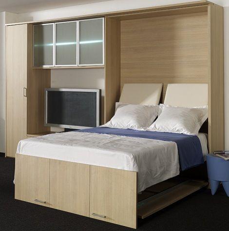 BOONE LINEA Conventa 4 bedkast open opklapbed studentenkamer flat klein weinig ruimte matras  licht eiken of wit theo bot zwaag / hoorn www,theobot.nl
