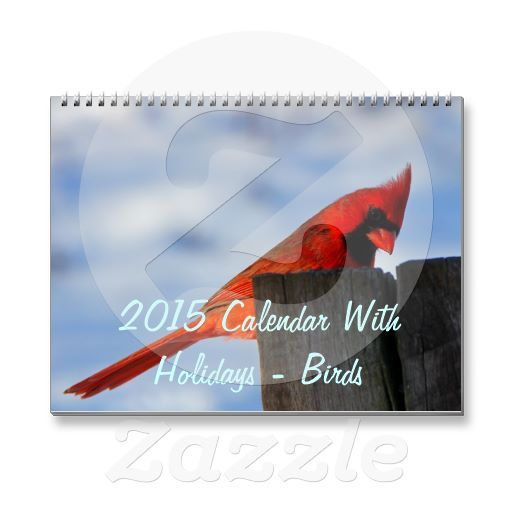 2015 Calendar With Holidays - Birds