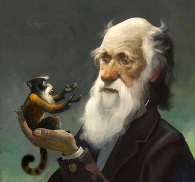 Jim Madsen Illustration: I.F. IMAGINATION, Darwin & monkey