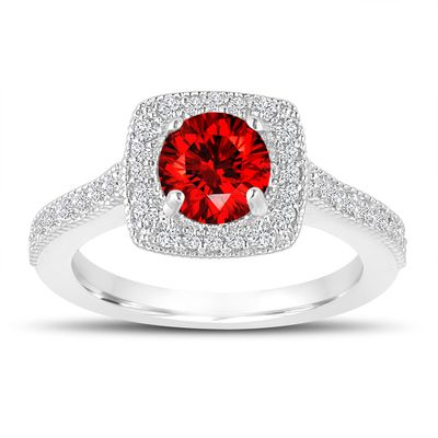 Fancy Red Diamond Engagement Ring 14k White Gold Halo Pave Handcrafted