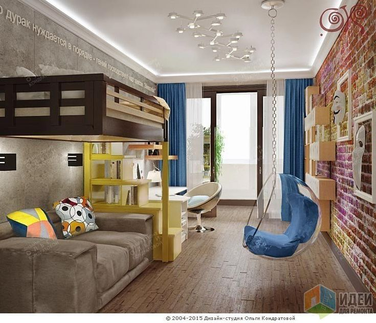 Дизайн детской комнаты для мальчика, квартира с элементами лофта