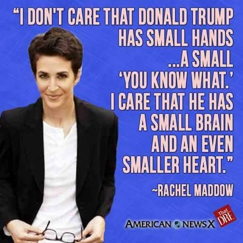 """""""I don't care that Donald Trump has small hands ...a small 'you know what.' I care that he has a small brain and an even smaller heart."""" ~Rachel Maddow"""