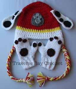 crochet toddler paw mitten Marshall paw patrol | Traverse Bay Crochet