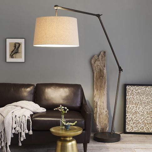 Industrial Overarching Floor Lamp | west elm- love this floor lamp-- can we use it for our living room?