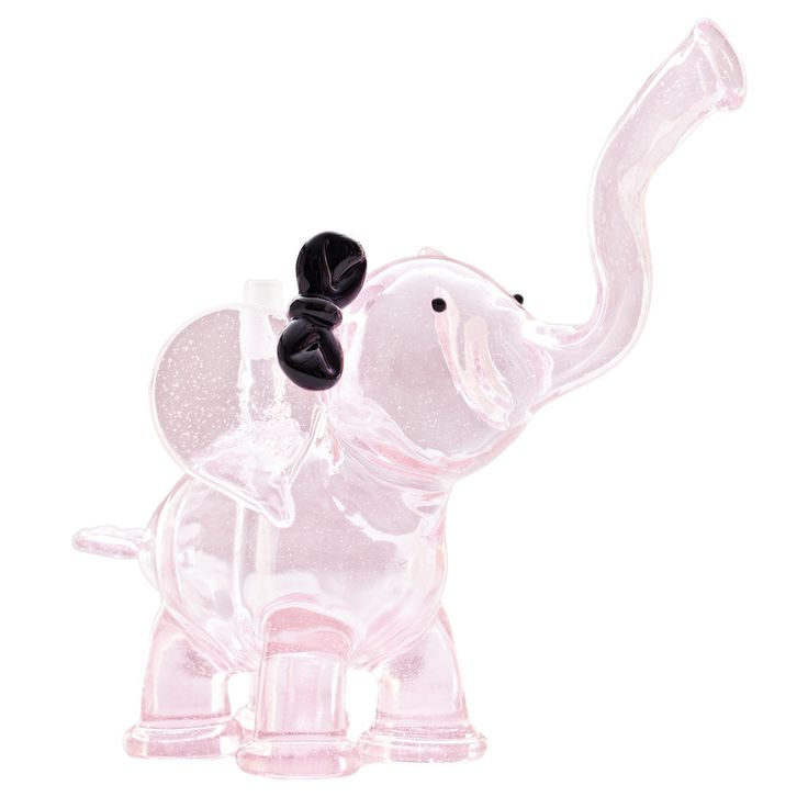 """Pink Errlephant Oil Rig by Flame Princess Glass - 10mm- Rosay Glass - Black Bow - 6.5"""" Tall, 7.5"""" Long - Dab Rig  * Dome not pictured"""