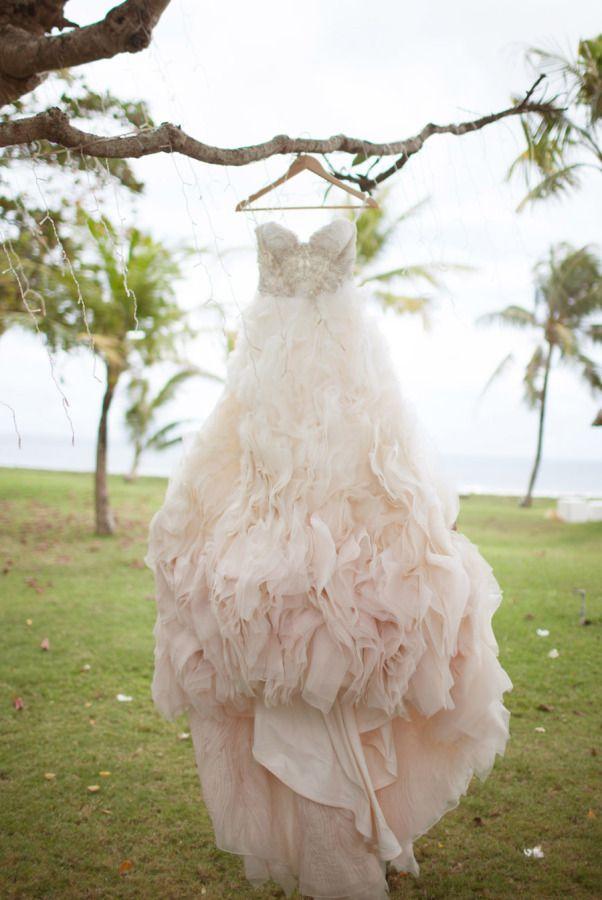 Glamorous ombre blush wedding dress: http://www.stylemepretty.com/destination-weddings/2016/03/02/romantic-bali-wedding/ | Photography: Imaj Gallery - http://www.imajgallery.com/