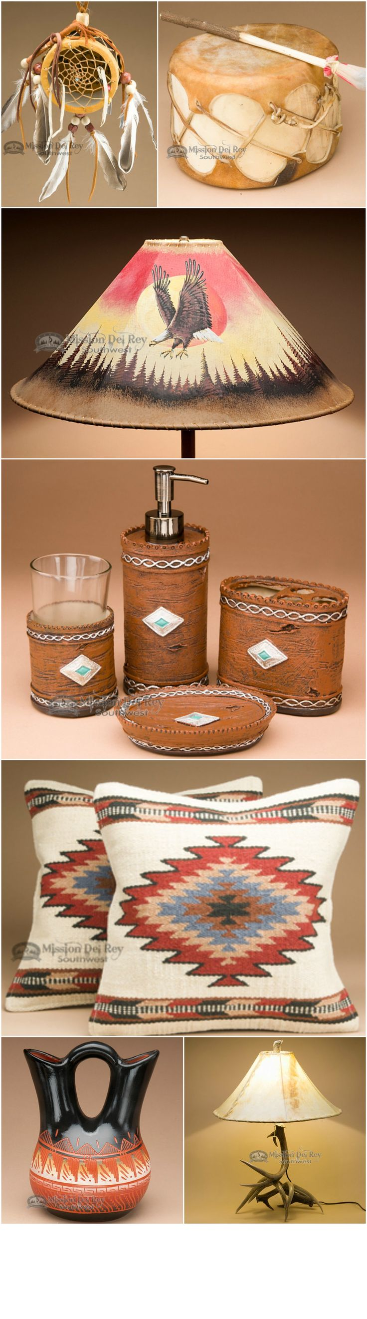 Rustic decor is a very popular choice in home decor.  You can achieve this look simply by adding a few key elements such as southwestern lamps and lamp shades, handcrafted drums, and Native American handcrafts.  See our great options in Southwest and rustic decor at http://www.missiondelrey.com/