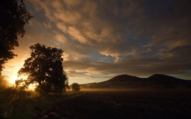 Gattonside Near Melrose  Scottish Borders looking towards the Eildon Hills during sunrise