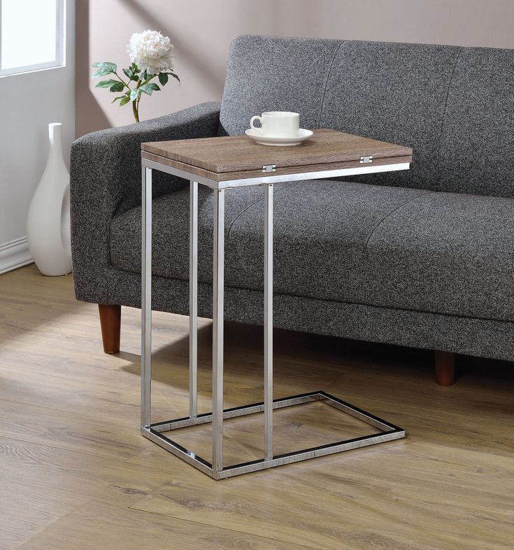Acme Acme Danson Side Table In Weathered Oak Chrome Weathered Oak Chrome Furniture Weathered Oak Wood End Tables