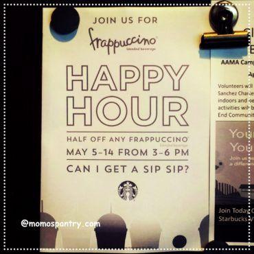 Starbucks Happy Hour 2017 Half Off Any Frappuccino   #スタバ #ハッピーアワー #フラペチーノ #Starbucks #HappyHour #2017 #HalfOff  #Frappuccino
