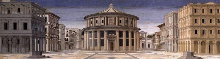 """La perspectiva lineal con punto de fuga en la pintura del Renacimiento, fue formulada en un principio por los arquitectos. """"La ciudad ideal"""" de Piero della Francesca."""