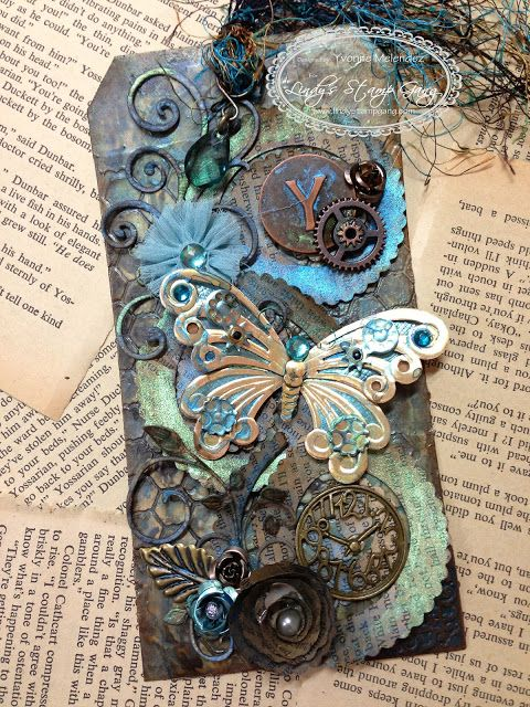 Beautiful Steampunk tag how-to from Lindy's Stamp Gang: Moon Shadow Magic