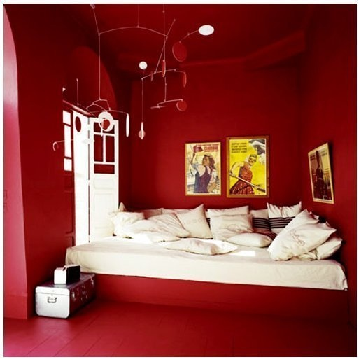 123 best colour at home red images on pinterest home for Red cream bedroom designs