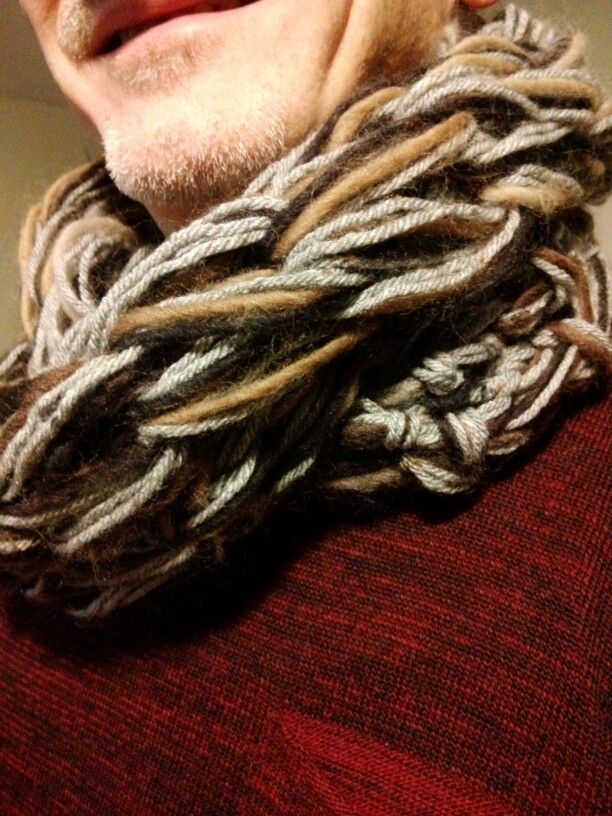 Mohair scarf arm knitting for men