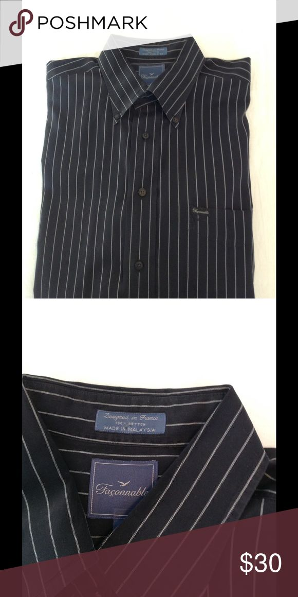"""Men's Faconnable Shirt Black with thin white stripes, 100% cotton, men's shirt with button down collar. Exclusive brand sold at Nordstrom. Sleeve length is 34"""" long. Freshly dry cleaned. Faconnable Shirts Casual Button Down Shirts"""