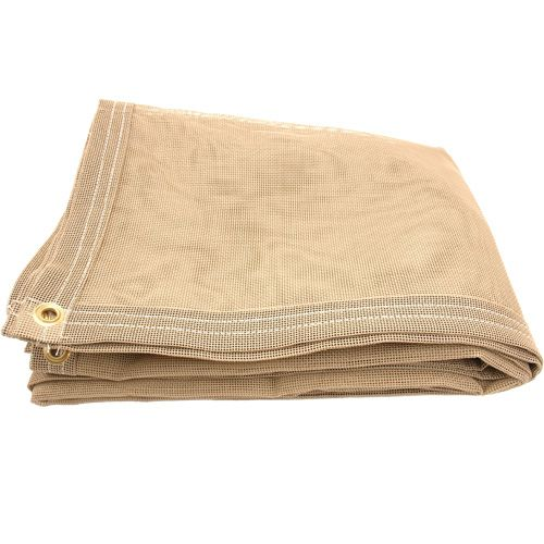 X Vinyl Mesh Tarp Shade   Tan Color