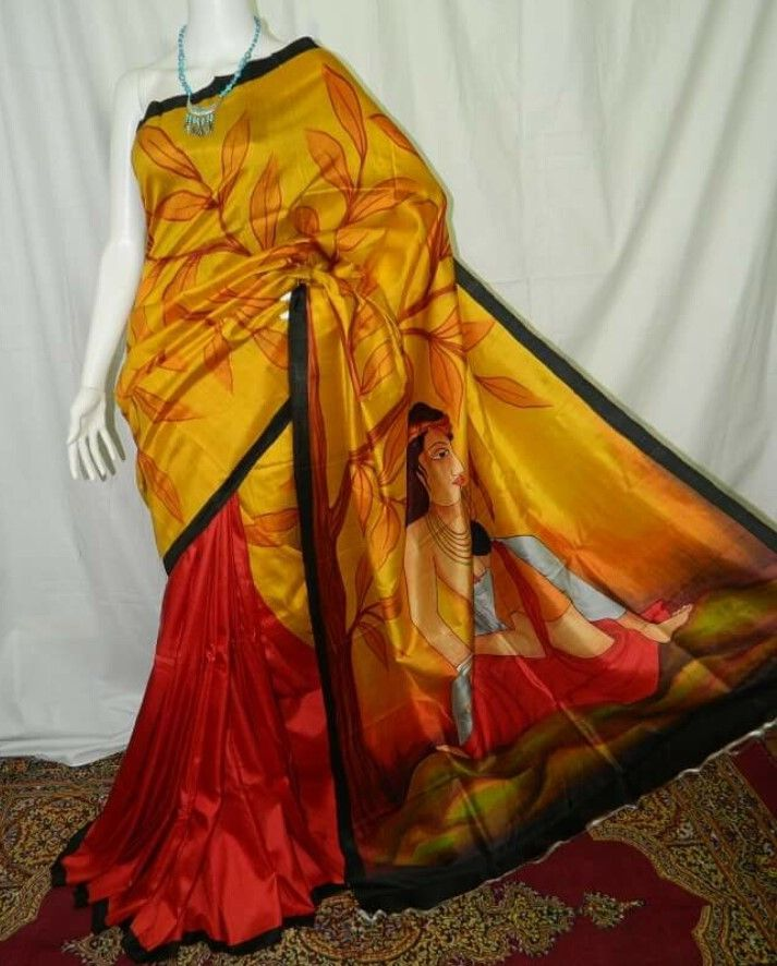 Artistic human figure handpainted organza saree - Only on order!