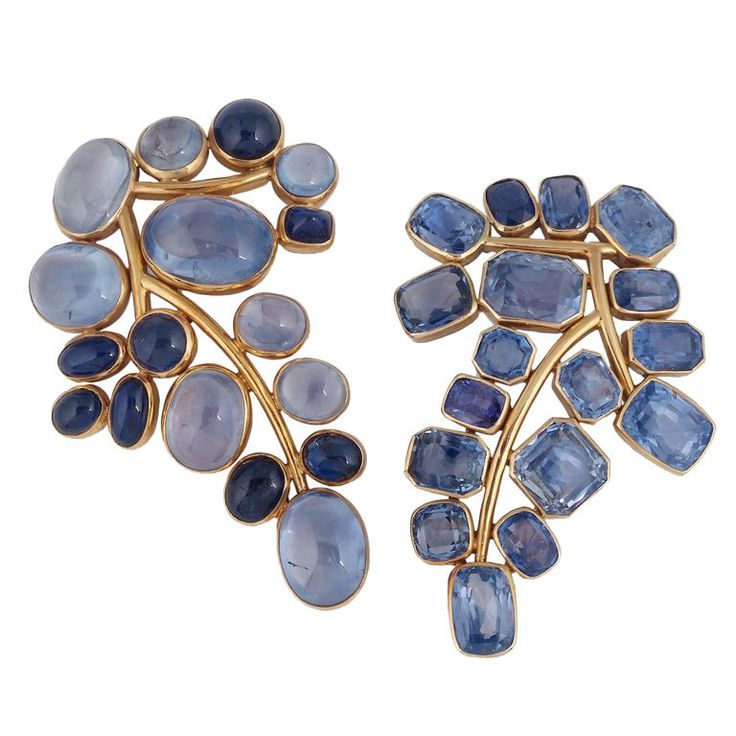 Suzanne Belperron, French, Pair of Sapphire 'Branche' Brooches, c. 1940's